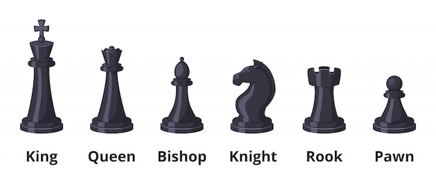 Chess icons set isolate on white. knight and pawn Premium Vector