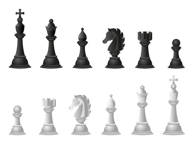 Chess illustrations set. cartoon Premium Vector