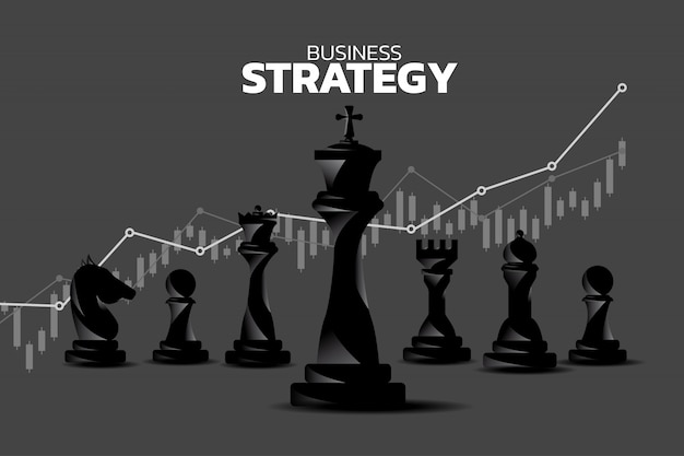 Chess piece silhouette with revenue growth graph background. Premium Vector