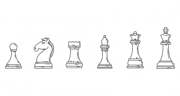 Chess pieces black outline flat silhouettes. game concept lineart stock   image set. Premium Vector