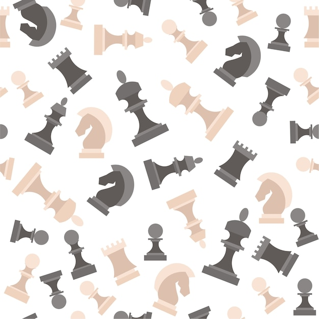 Chess pieces. figures black and white background pattern. Premium Vector