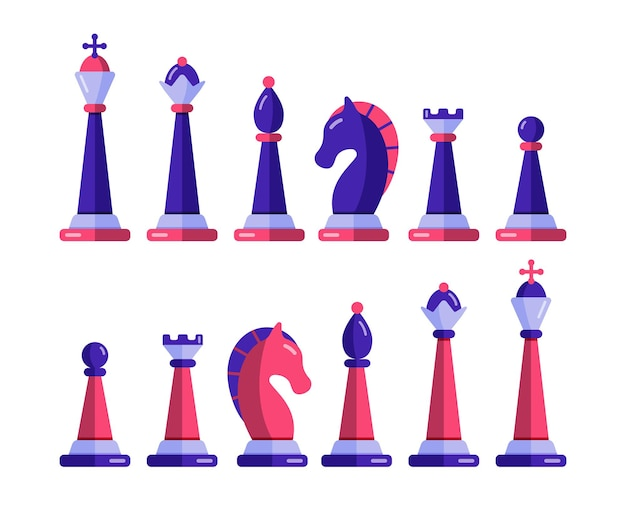 Chess pieces  set. checkmate and win strategy in tournament. Premium Vector