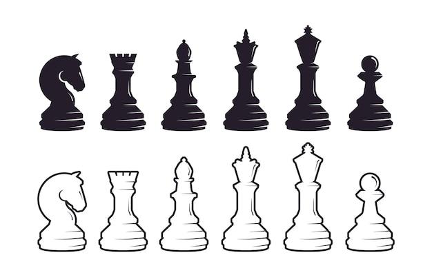 Chess pieces silhouette set Premium Vector