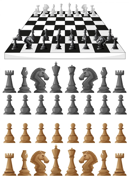 Chessboard and different chess pieces illustration Free Vector
