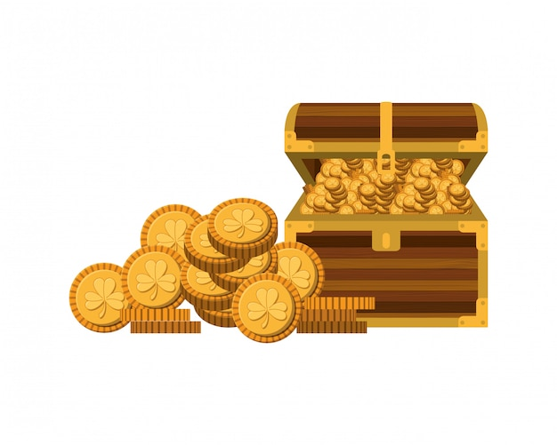 Chest with coins isolated icon Premium Vector