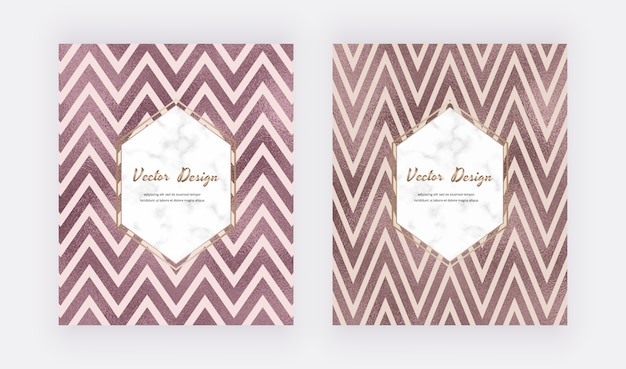 Chevron rose gold foil lines backgrounds with marble frame. geometric template. Premium Vector