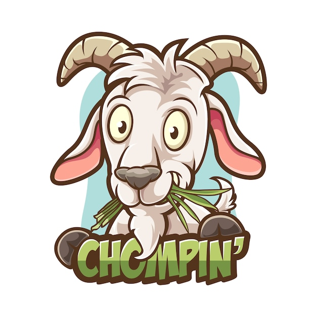 Chewing grass goat Premium Vector