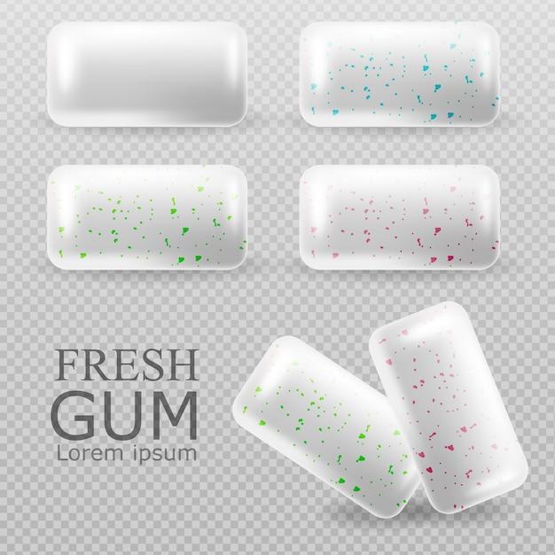 Chewing gum set Premium Vector