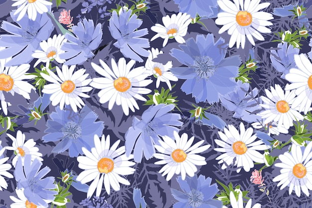 アート花のベクトルのシームレスなパターン。ヒナギクとchi、葉、小枝のチコリ。白と青のフィールドの牧草地の花 Premiumベクター