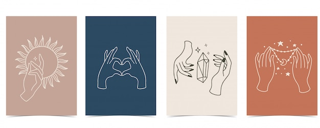 Chic background set with hand, crystal, moon, star, heart. Premium Vector