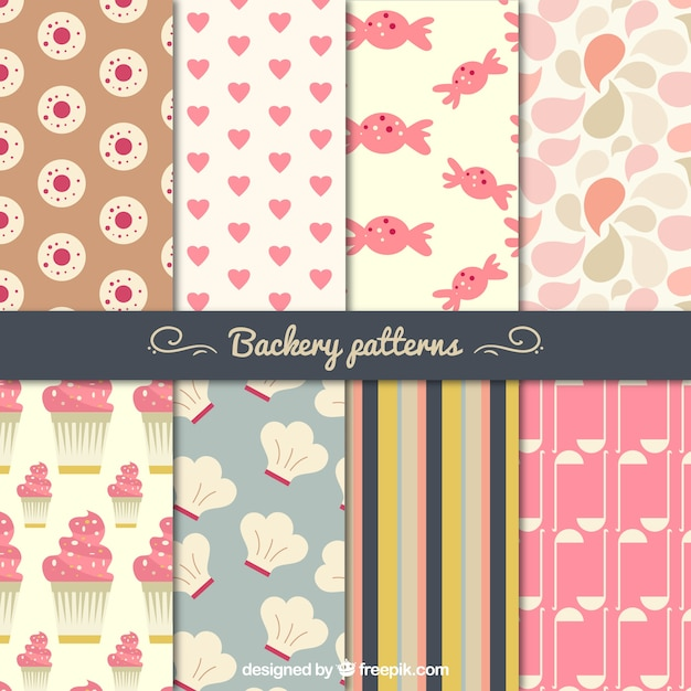 Chic bakery patterns set Free Vector