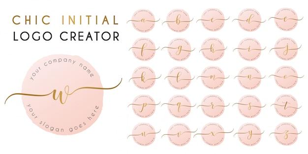 Chic elegant initial letter logo template Premium Vector
