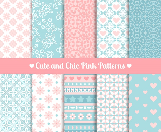 Chic pink and blue patterns Premium Vector
