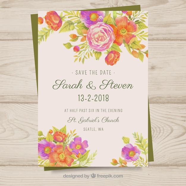 Chic wedding invitation Free Vector