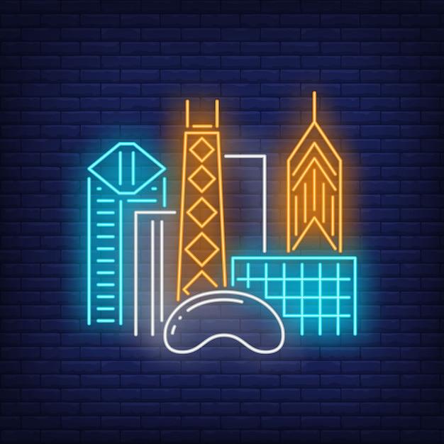 Здания города чикаго и cloud gate неоновая вывеска. осмотр достопримечательностей, туризм, путешествия. Бесплатные векторы
