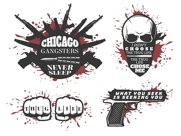 Set di citazioni di chicago gangster Vettore gratuito