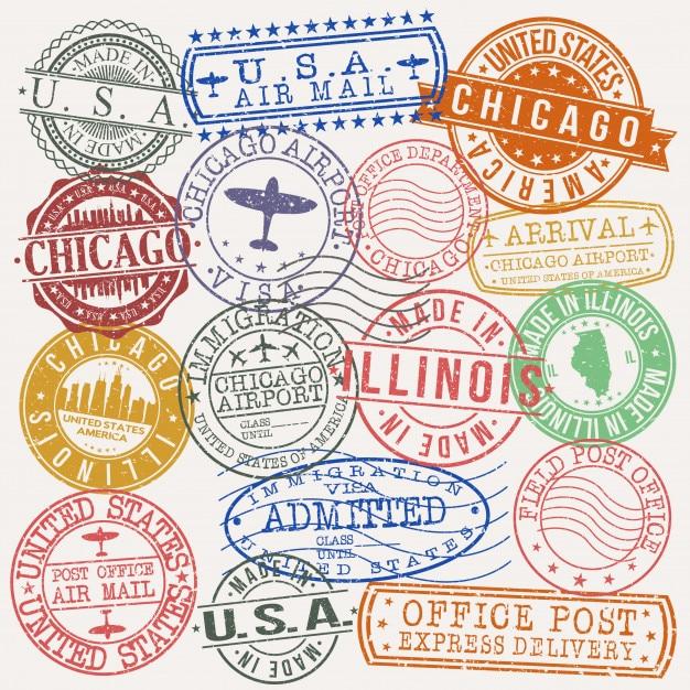 Chicago illinois postal passport quality stamp Premium Vector