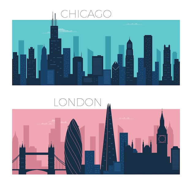 Chicago and london city skyline Premium Vector