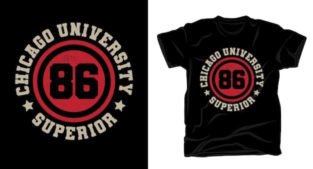 Дизайн футболки типографики восемьдесят шесть чикагского университета Premium векторы