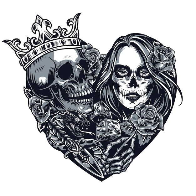 Chicano style tattoo template Free Vector
