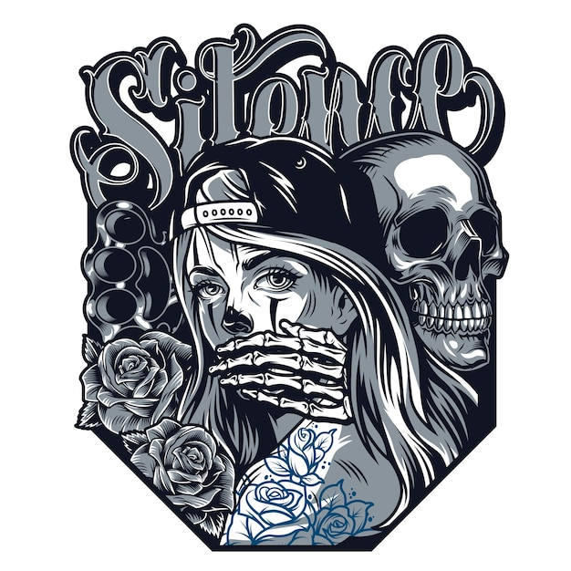 Chicano tattoo style concept Free Vector