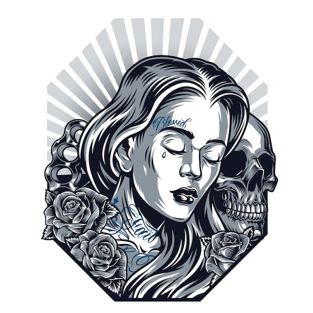 Chicano tattoo vintage template Free Vector