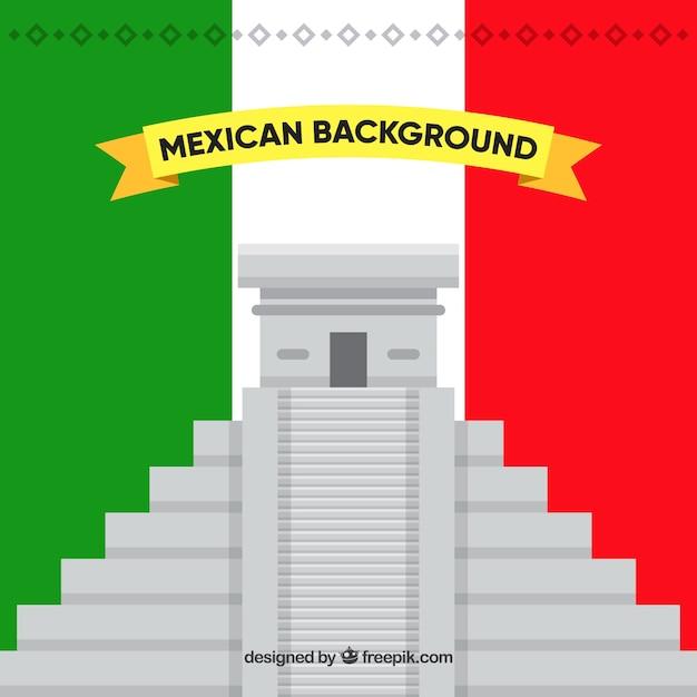 Фон флага мексики с chichen itza Бесплатные векторы