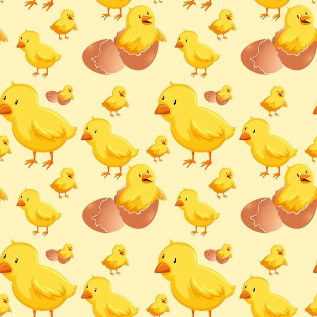 Chick hatching egg seamless Premium Vector