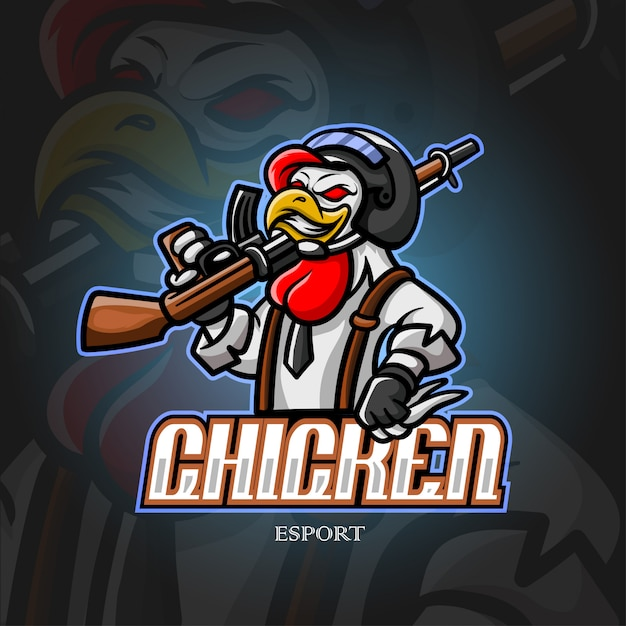 Chicke талисман киберспорт дизайн логотипа Premium векторы
