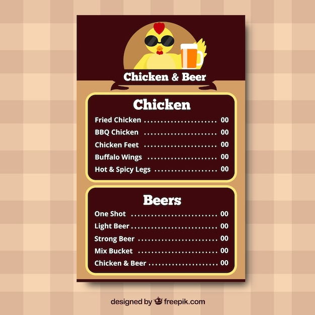 Chicken and beer menu Vector | Free Download