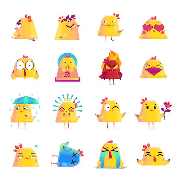 Chicken cartoon character icons big set Free Vector