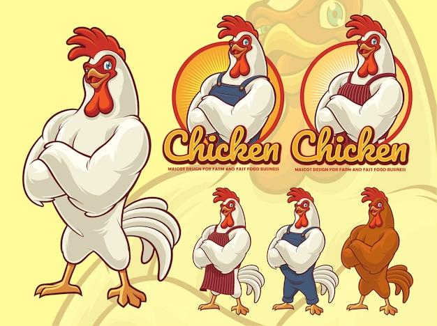 Дизайн талисмана chicken chef для бизнеса быстрого питания Premium векторы