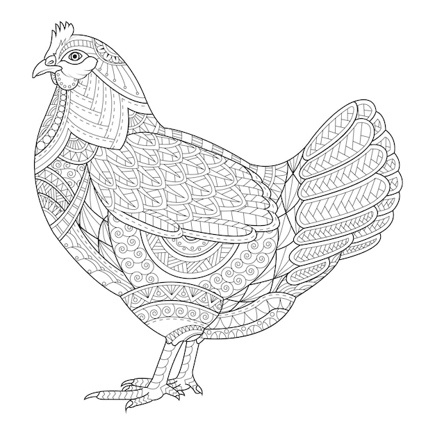 Chicken coloring book for adult, tattoo Premium Vector