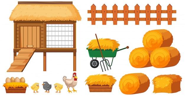 Chicken coop and hays on white background Premium Vector