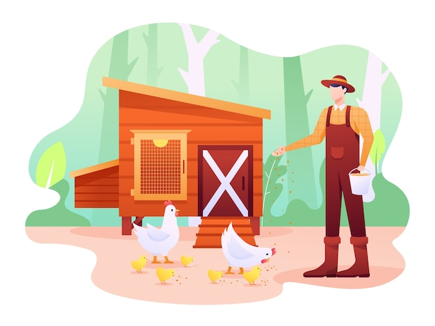 Chicken coop  illustration, it's a shed or farm for poultry and fowl, can be chicken, bird or anything else. this illustration can be use for website, landing page, web, app, and banner. Premium Vector
