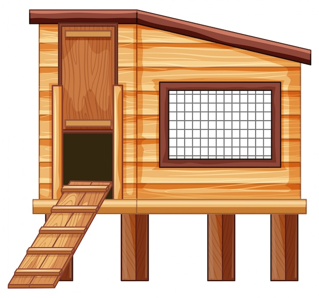 Chicken coop made of wood Free Vector