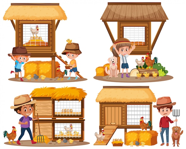 Chicken coops and children on the farm Premium Vector