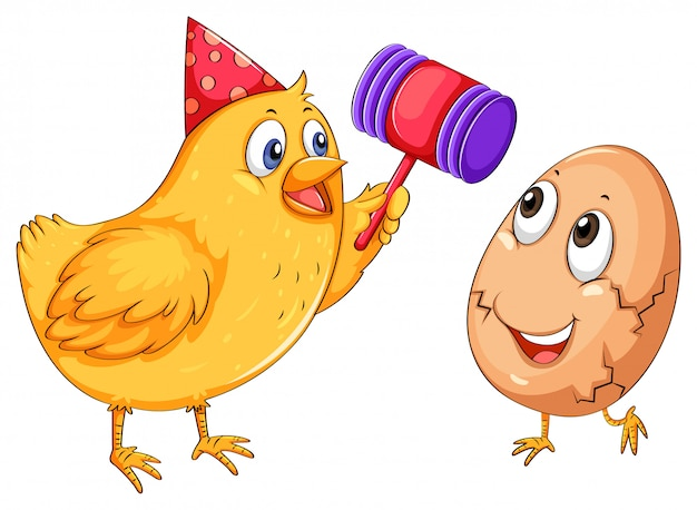 Chicken cracking egg with hammer Free Vector
