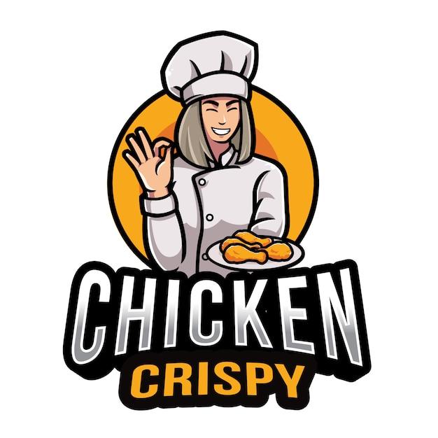 Курица хрустящий логотип шаблон Premium векторы