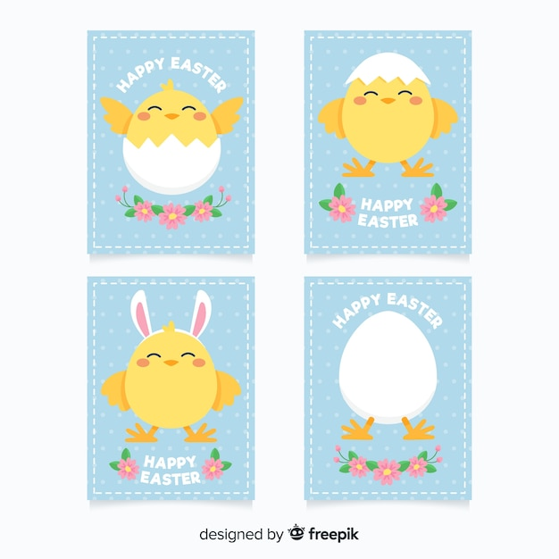 Chicken easter card pack Free Vector