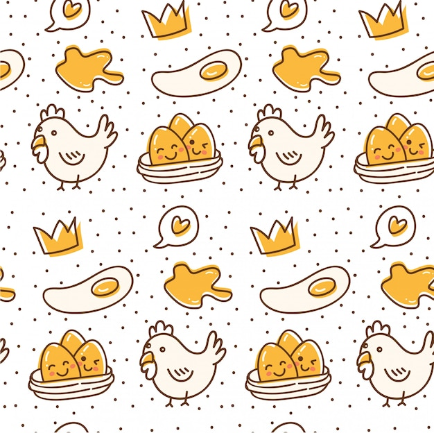 Chicken and egg seamless pattern in kawaii doodle style Premium Vector