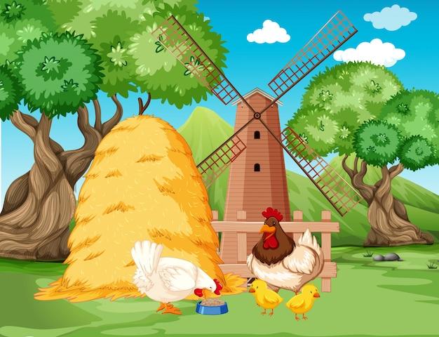 Куриная семья на ферме Бесплатные векторы