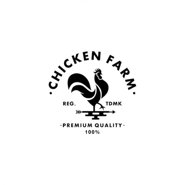 Chicken farm logo collection stock Premium Vector