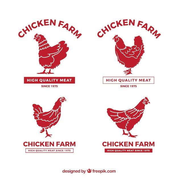 Коллекция логотипов куриных ферм Бесплатные векторы
