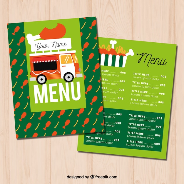 Chicken food truck menu with fun style