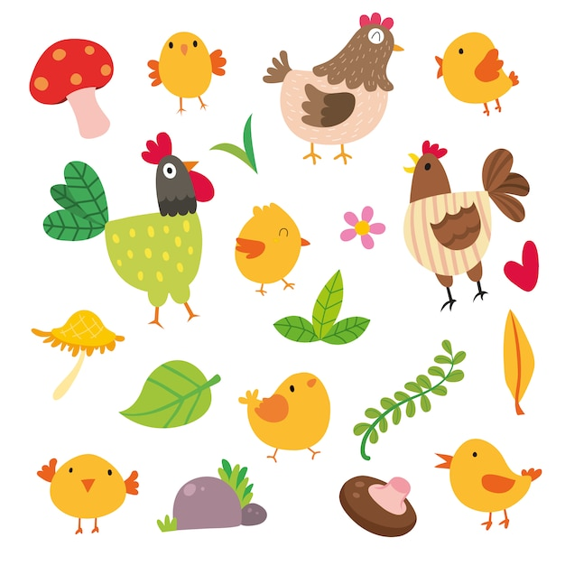 Chicken illustrations collection Free Vector