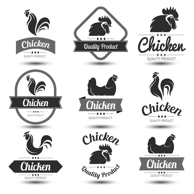 Chicken label Premium Vector