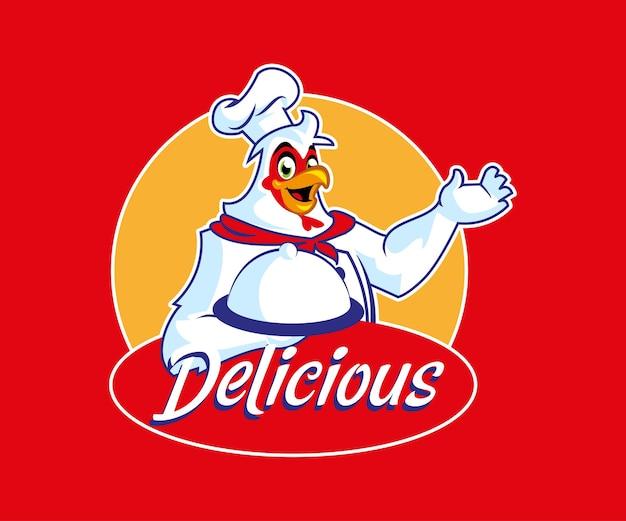 치킨 마스코트 맛있는 음식 로고 프리미엄 벡터