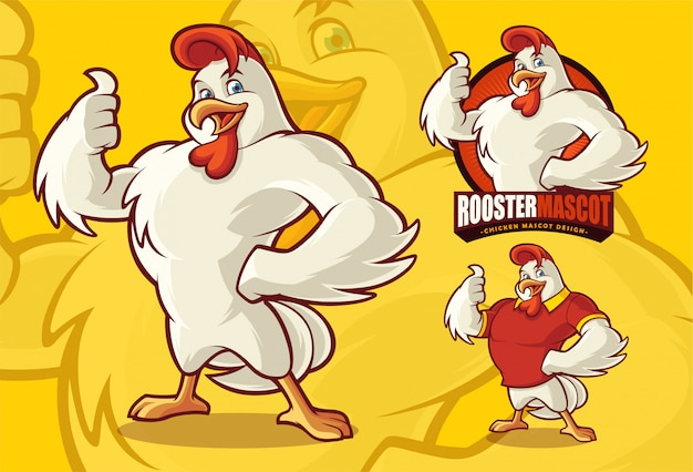 Chicken mascot for food or farm business with optional apprearance. Premium Vector