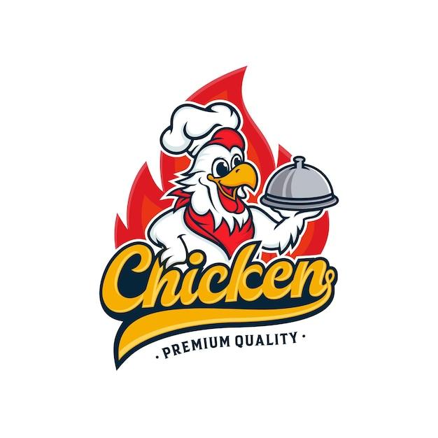 チキンマスコットのロゴデザイン Premiumベクター